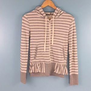 Saturday Sunday Striped Full Zip Hood Sweater